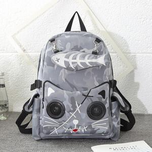 Neue Designer-Mode Luxus Bluetooth Audio-Rucksack beiläufige Nylon Stickerei Wasserdichte Doppel-Schulter-Beutel Schultasche Schule