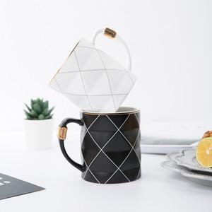 Nordic d'or noir et blanc grille géométrie en céramique tasse à café en porcelaine boire du jus tasse de café au lait tasse de thé T200327