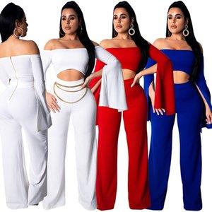 New 2020 Mot sexy épaule sexy à manches longues pour femmes Designer Pantalons européens et américains Femme Femmes siamois Pantalons Taille S-XL gros