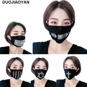 8styles Diamond Black Mask Baumwollrhinestone-Stern-Gesichtsmasken Erwachsene weibliche Waschbar Club Party Masken Schutz Designer Maske GGA3403