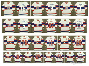 Vintage Montreal Canadiens Jersey 1 Jacques Plante 3 Emile Bouchard 6 Toe Blake 9 Maurice Richard 16 ELMER LACH 17 KEN REARDON Retro Hockey
