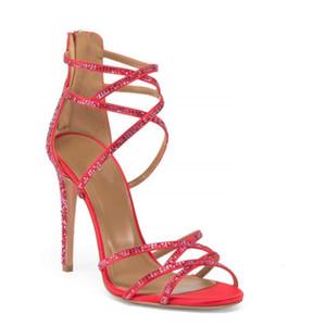 Vendita calda-sandalias mujer 2018 scarpe rosse bling cristallo bling tacchi alti sandali tacchi alti donne cerniera stretta banda signore stivali estivi