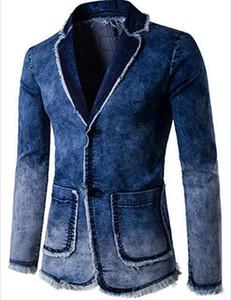 رجل الدينيم خمر الحلل والأزياء نمط الشرير جينز السترة سترة الملابس صالح سليم ذكر معاطف الصلبة