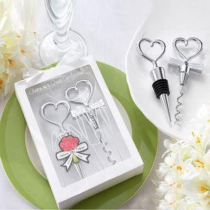 Herzform-Kombination Paar Weinflaschenöffner Korkenzieher und Stopper Set Hochzeits-Souvenirs für Gast DLH074