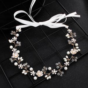 Tocados para bodas Damas de honor de novia de oro Hecho a mano Perlas de diamantes de imitación Diadema Diadema Accesorios para el cabello de lujo Fascinators Tiara Gold