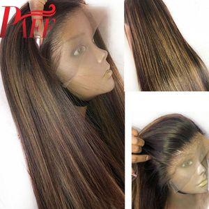 Пафф 13x4 кружева парик человеческих волос выделить светлый цвет свободная часть предварительно сорвал кружева перед парики Реми бразильский омбре