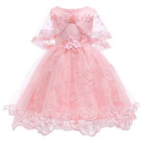 Kızlar Elbiseler Prenses Doğum Günü Partisi Kız Elbise Inci Çiçek Kolsuz Gelinlik Balo Bebek Kız Için Y19061303
