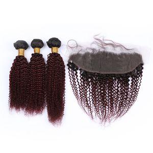 # 99j 와인 레드 인간의 머리카락 묶음과 정면 버진 브라질의 곱슬 머리 곱슬 머리 익스텐션과 레이스 정면 폐쇄 어두운 뿌리 1b 99j 헤어