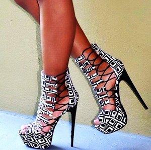Gladiator Platform Summer Boots Hollow Peep Toe Cut Out Sandals Bootie Supper High Runway Party Woman Dress Sandals handmade