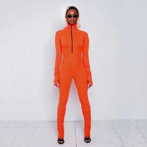 Aonibeier costela de malha Zipper Mulheres BODYCON macacãozinho Casual aptidão magro Sportswear alta Long Neck Sleeve Jumpsuit com o polegar Buraco