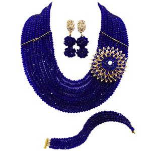 Royal Blue African Beads Jewelry Set Crystal Wedding Bridal Party Jewelry Collana Bracciale Orecchini Imposta 10DSK04