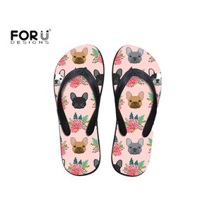 FORUDESIGNS Fashion 2019 Women Slippers Summer Cartoon Cute French Bulldog Floral Print for Girl Flip Flops Beach Casual Sandals T200703