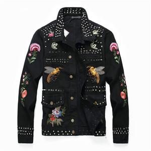 Homens Jaqueta e Casaco de Moda Bordado Emblema Patchwork Jaqueta Jeans 2019 Moda Inverno Mens Jean Jacket Outwear Masculino Cowboy Plus Size M-4XL
