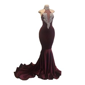 New Burgundy Velvet Mermaid Prom Dresses Beaded Appliques Formal Dress High Neck Sweep Train Plus Size Party Evening Special Occasion Gowns