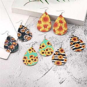 Moda Cuoio Orecchini Teardrop Shape ciondola l'orecchino gancio di girasole modello della stampa del Eardrop boemo gioielli per le donne regalo