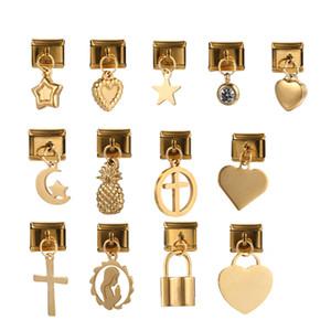 팔찌 보석 DIY 결정을위한 20PCS / 부지 스테인레스 스틸 하트 크로스 스타 파인애플 자물쇠 열쇠 고리 확장 탄성 후크 문양 매력