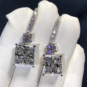Victoria Luxury Bijoux 925 Sterling Argent Princesse Coupe Blanche Topaze Platine Platinum Cz Diamond Dangle Boucle d'oreille Femmes Crochet de mariée Boucles d'oreilles