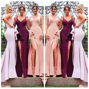 V-образным вырезом Русалка Bridesmaids платье Sexy Split Side 2020 Честь поздное Customized Формальное Длинные невесты Пром платья Дешевые