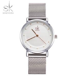 Shengke Marca Moda Relojes de pulsera Mujeres Banda de acero inoxidable Vestido de mujer Relojes Mujer Reloj de cuarzo Relogio Feminino Nuevo Sk Y19062402