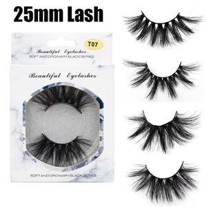 1 Paar 25mm 5D Soft-Nerz-Haar-falschen Wimpern Wispy Fluffy Dramatisch Lang Volume Lashes Verlängerungs-Augen-Make-up-Tools Handmade