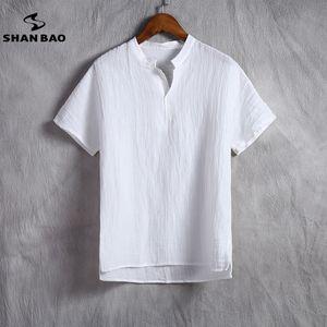 Shan Bao Марка мужская льняная белая футболка Summer Thin Section Удобная дышащая высококачественная свободная футболка с короткими рукавами Y19072201