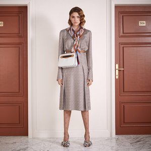 FF 100% Silk 2020 Summer Collection High Luxury Quality Brand Italian Milan Designer Monogram Bow Collar Dress