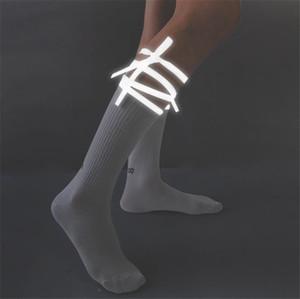 Reflective Women Designer Socks Personality Ins Style Letter Printed Crossing Ribbon Breathable Stockings Women Designer Socks