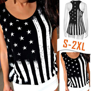 Womail Women top t-shirt Summer Fashion Casual Print American Flag Sleeveless Tank Crop Tops Vest T-Shirt Daily 2019 dropship f7
