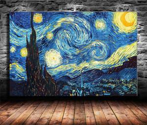 Van Gogh Notte stellata Stampa HD Tela nuova decorazione della casa Arte Pittura / (Unframed / Framed)