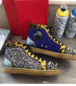 Цвета кожи + Цвет Starss Rhinestone Престижное Имя Кружевных кроссовки для мужчин в Шипастом High Top Boots Пик Пик Заклепка Коты обуви Мода
