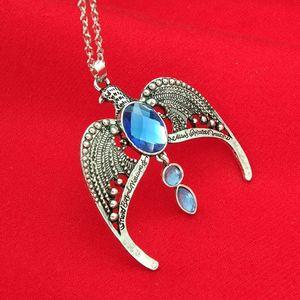 La corona perdida de Ravenclaw Ravenclaw Necklace Horcrux Vintage Antique Silver Eagle Crown Diadem colgante de joyería para mujeres
