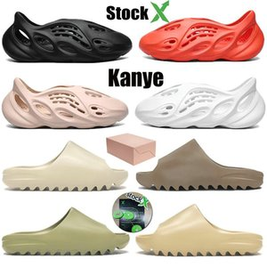 2020 kanye west Slipper Männer Frauen Slide Knochen Earth Brown Desert Sand Slide Resin Designerschuhe Sandalen Foam Runner Größe EUR36-45