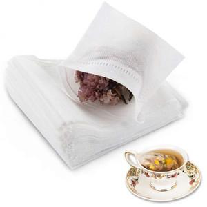 Lot 100pcs Thé Sacs filtrants non tissés à usage unique Drawstring Tea Infuser Chaîne Seal Filtre Sac pour le thé Café Verres &