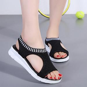 2020 Sandalet Kadınlar Yaz Kama Kadın ayakkabı Gladyatör Açık Burun Casual Düz Plaj Ayakkabı Plus boyutu 35-45 LaSiTing