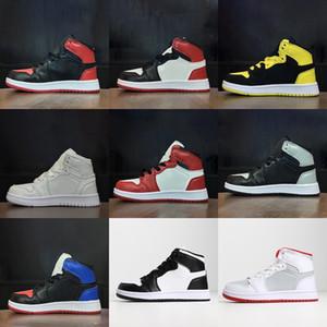 Nike Air Jordan 1 Pas cher nouvelles 1 chaussures de basket retro Wolf Gris Gamma bleu noir blanc rouge nuit de bal enfants sneakers baskets tennis