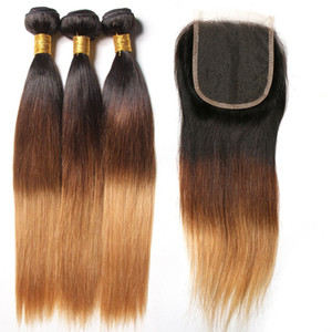 Silanda Hair 3 Color Ombre #T 1B 4 27 Straight Remy Human Hair Weaves 3 Weaving Bundles With 4x4 Lace Closure Free Shipping