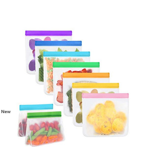 Reusable Food Storage Bags Stand-Up PEVA Freezer Safe Leakproof Washable Bags for Lunch Snack Fruit Vegetables Storage Bags ZZA1856