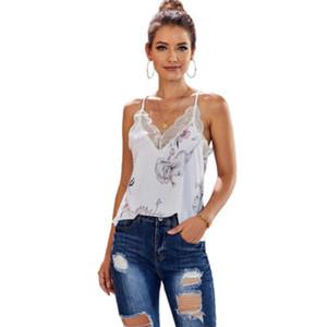Progettista delle donne T-shirt in pizzo Camis Ladys di marca della stampa modo sexy Camis Top Women Casual Top Lady giornaliera Abbigliamento 2020 Estate all'ingrosso