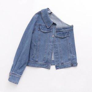 Roupa Estilo DesignNonsymmetrical de Coats Mulheres Casacos de 2019 Autumn New Mulheres offShoulder Fashionable única luva Bandeau Jeans Co