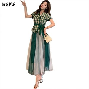 Summer Dresses 2 Pieces Set White Green Plaid Shirts Tops Blouses Ruffles Wrap Long Aline Skirt Sexy Party Clothes Womens Dress