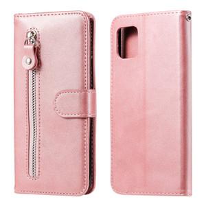 Custodia in pelle con cerniera puro PU per Samsung Galaxy A81 / Nota 10 Lite / M60S / A91 / S10 Lite / M80S copertura del basamento di vibrazione della carta del raccoglitore Slot