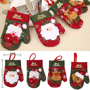 Christmas Hat Silverware Holder Xmas Mini Red Babbo Natale posate Party Decor Carino regalo cappello Set di posate da tavola