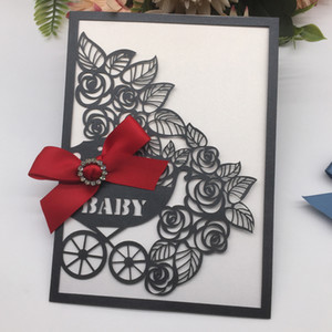 New Laser Cut Pearl paper Blessing Card Baby Shower 1st birthday Party Decoration Invitation card Greeting card