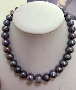 "New Fine pearl jewelry Stunning 8.5-9.5mm rotonda tahitian enorme nero rosso verde perla collana 18 ""14kGP"