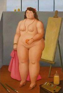 A115 Fernando Botero Akt Mädchen auf Leinwand Wohnkultur Handbemalte HD-Druck Ölgemälde auf Leinwand-Wand-Kunst Bilder 200205