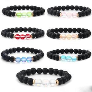 Nova colorido Spectrolite cristal ajustável pulseira Imitação Ágata Bead pulseira para mulheres Sorte Jóias presente
