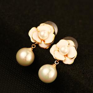 Neue trendige klassische Modedesignerin Kamelie Blume Elegent Perle Anhänger Tropfen Ohrstecker baumeln Kronleuchter Ohrringe für Frauen Mädchen