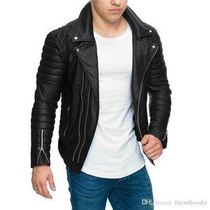 Veste en cuir Collier motocycliste Turndown Slim Fit tirettes Manteaux vestes pour hommes Designer PU
