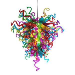 Оптовая Фабрика-розетка осветительные люстры разноцветные люстры из муранского стекла подвесные стеклянные светодиодные светильники для украшения вечеринок