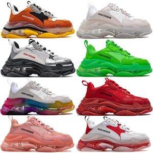 2020 zapatos de las zapatillas de deporte del amortiguador balanciaga Triple S 3.0 Combinación de nitrógeno Suela de cristal inferior papá de los zapatos ocasionales de las zapatillas de deporte 36-45rUmq #